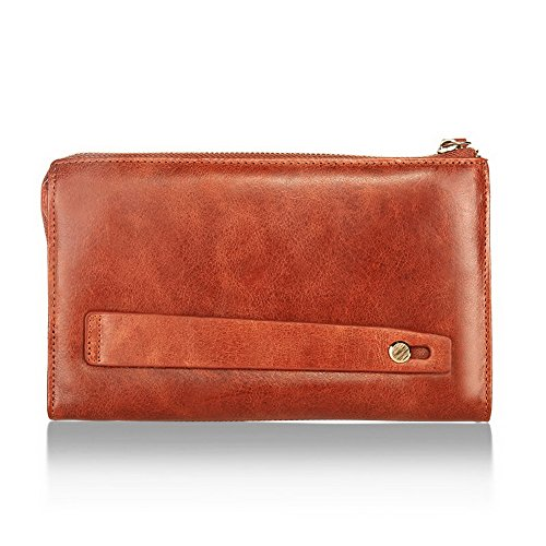 amp;W H Zipper brown Fashion Reddish Brown With Wallet Reddish Clutch Wallet Leather Handle Hwwdfq1