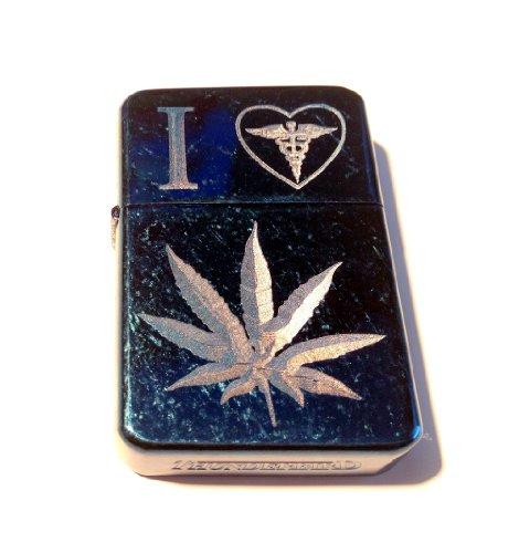 Vector-KGM-Thunderbird-Custom-Lighter-I-Love-Heart-Medical-Marijuana-Weed-POT-Leaf-Ganja-Logo-Vintage-Blue-High-Polish-Chrome-Rare