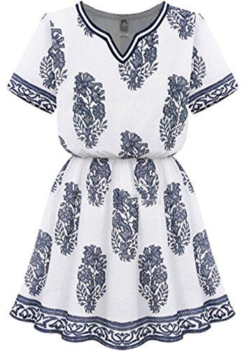 Sheinside® Women's White V Neck Short Sleeve Floral Dress (M, White)