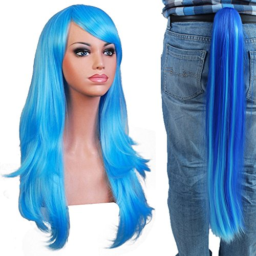 Anogol Hair Cap +Long Blue Wave Cosplay Wig