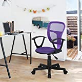 HOMY CASA Swivel Work Office Desk Task Chair | Mid Century Modern Mid-Back Height Adjustable Upholstered Velvet Foam Cushion Seat with 360 Rotation & Castor Wheels (MESH ARM Purple)