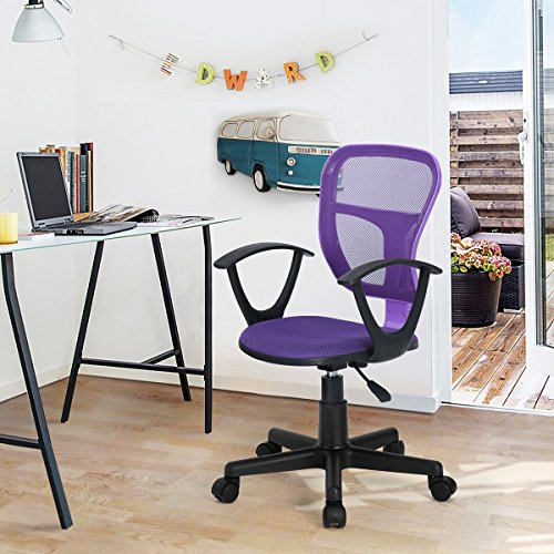 HOMY CASA Swivel Work Office Desk Task Chair | Mid Century Modern Mid-Back Height Adjustable Upholstered Velvet Foam Cushion Seat with 360 Rotation & Castor Wheels (MESH ARM Purple)