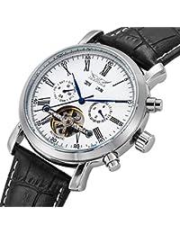 GuTe Dress Gentlemen Decor Tourbillon Automatic Mechanical Wrist Watch White Dial Full-calendar