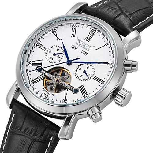 GuTe Dress Gentlemen Decor Tourbillon Automatic Mechanical Wrist Watch White Dial ()