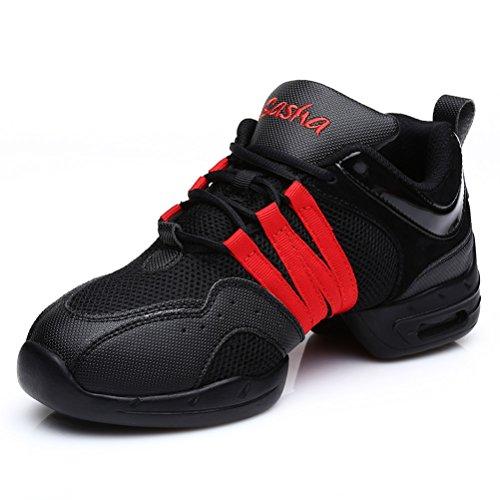Sportiva Da It Hroyl Jazz rosso Moderno Maglia Ballo b5 2 Danza Donna Della Scarpe Nero Modello Ginnastica Leather Sneaker 66xXg