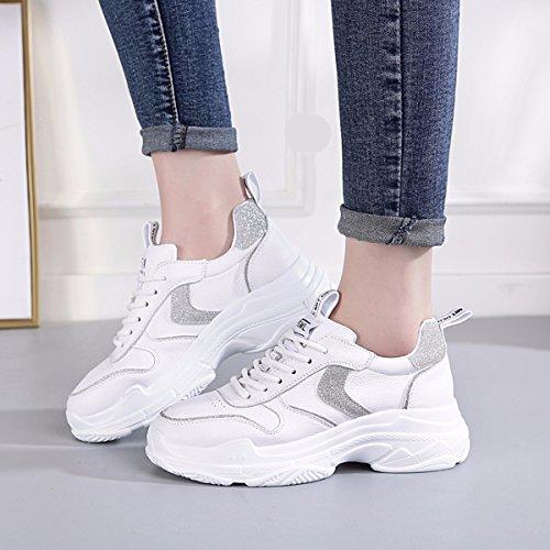 De Suela Casual Primavera Shoes Running Shoes Gruesa Mujer Sports Zapatos de silvery Cuero GTVERNH ZfFIYqWn