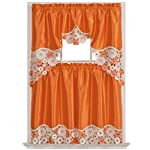 SPRING VIGOR Kitchen Curtain Set/ Swag valance & tier set. Nice matching color daisy embroidery on border with cutworks