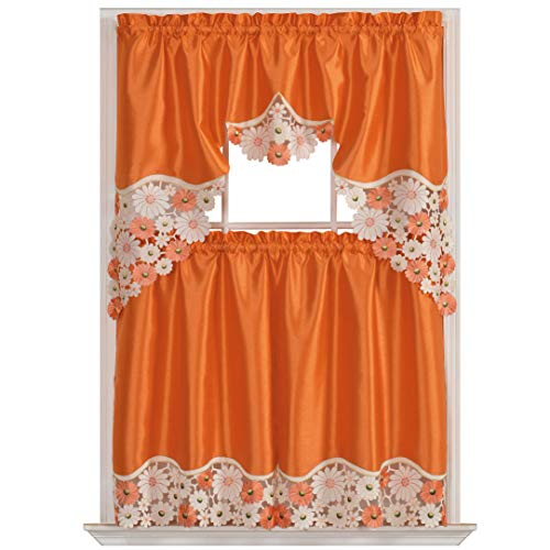 GOHD Spring Vigor Kitchen Curtain Set/Swag Valance & Tier Se