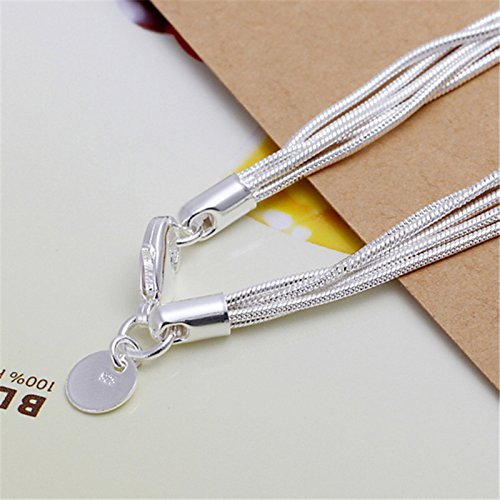 MIXIA Multi-Layer Snake Chain Bracelet Heart S925 Silver Plated Romantic Tassel Love Jewelry Best Gifts for Girlfriend