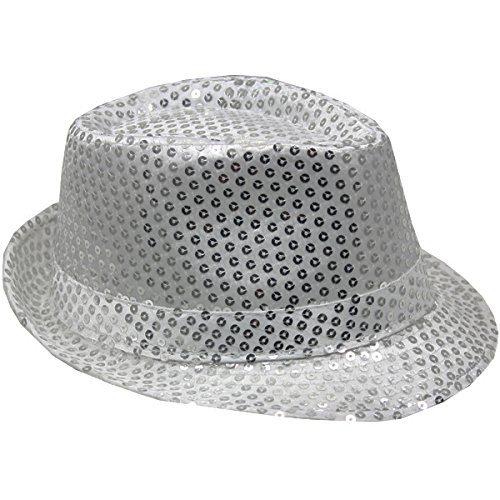 AK-Trading New Fashionable Sequin Fedora Party Hat - Silver 9d516c1ed081