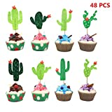 Cactus Cupcake Toppers, 48 pcs Cupcake Picks for Cake Decorations Tropical Cacti Theme Summer Hawaii Party Favors Fiesta West Cacti Theme Birthday Party Supplies