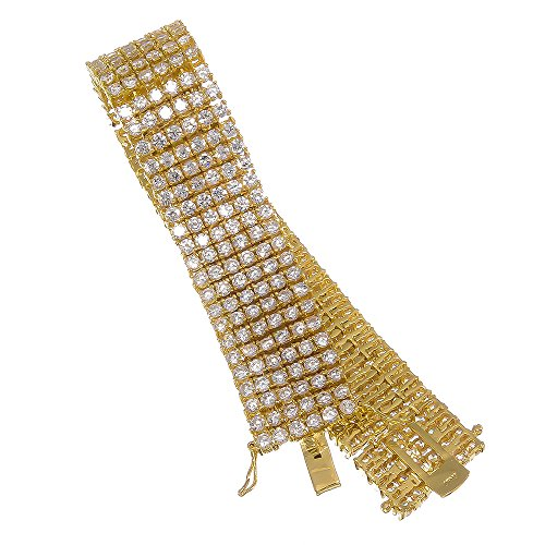 8.5 Inch 6-Row 14k Gold Plated Iced Out Hip Hop Bracelet with White Cubic Zirconia CZs + Bonus Polishing Cloth by The Bling Factory