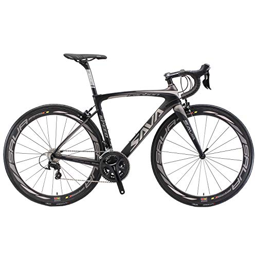 (SAVADECK Herd 6.0 T800 Carbon Fiber 700C Road Bike Shimano 105 5800 Groupset 22 Speed Carbon Wheelset Seatpost Fork Ultra-Light 18.3 lbs Bicycle Black Grey 52cm)