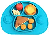 Ledsolver Silicone Baby Placemat and Spoon, 100% Suction Baby Plate, Food Grade Silicone Placemat for Toddlers (Blue)