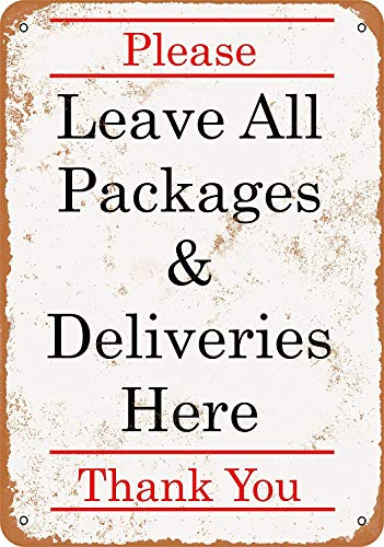 Fireworksss Wall-Color 9 x 12 Metal Sign - Please Leave Package Deliveries Here - Vintage Look Reproduction
