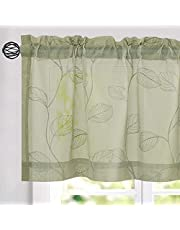 Kitchen Sheer Valance Tiers with Leaf Embroidered Design