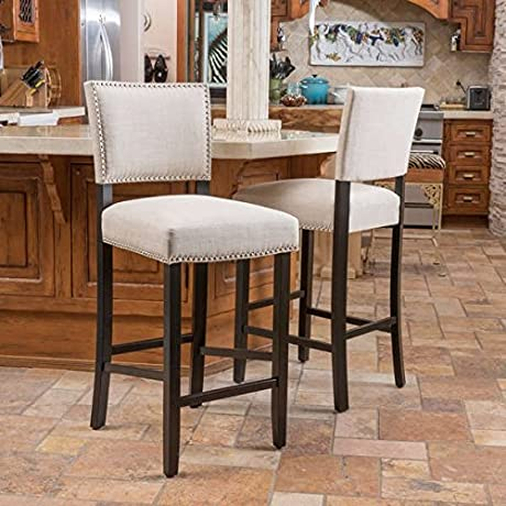 Christopher Knight Home Owen Fabric Backed Barstool Set Of 2
