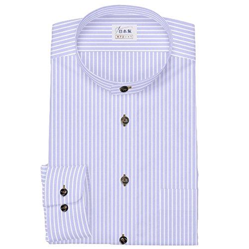 dc59e43e5e99 Amazon | ワイシャツ 軽井沢シャツ [A10KZZS53]スタンドカラー 純綿 100番手双糸 パープルストライプ  らくらくオーダー受注生産商品 | シャツ 通販