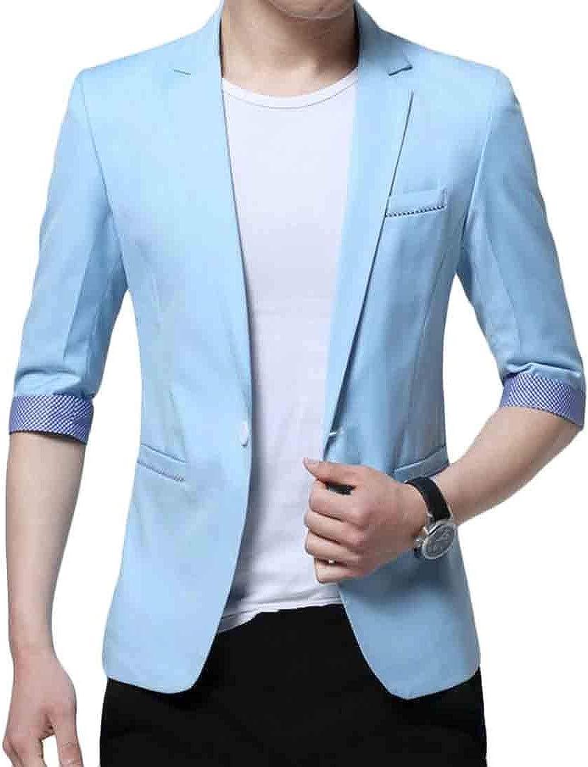 WSPLYSPJY Mens Slim Fit Casual Coat One Button Lapel Blazer Jacket