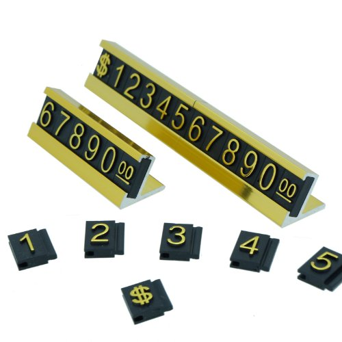 Set of Number Letter with $ Sign Adjustable Countertop Sale Price Display Stand for Retail Shop (Gold) from BeadsMonster