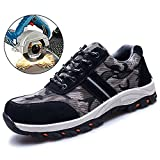 TRUPO Mens Work Safety Shoes Construction Industrial Steel Toe Puncture Proof Footwear Camouflage Black 36