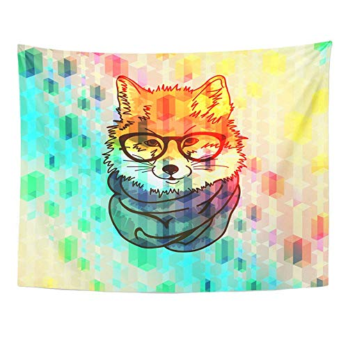 SSKBJTBDW Pink Music Hipster Fox Blue Modern Internet Tapestry Soft Polyester Cotton Appropriate Size Nice Wall Hanging Decoration ()