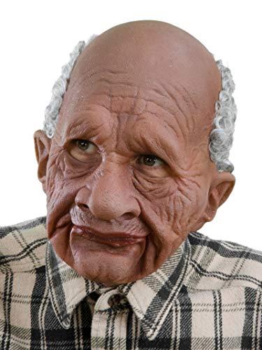 Funny Black Man Halloween Costume (Zagone Grandpappy Mask, Wrinkled Old Brown)