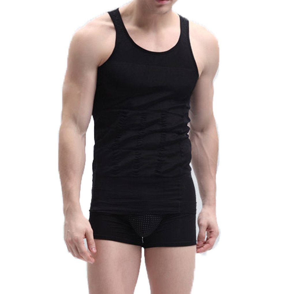 COSYOU Mens Slimming Body Shaper Vests Black Tank Shirt Abs Abdomen Slim (M, Black)