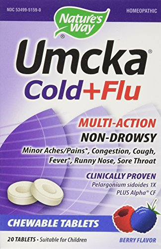 - Nature's Way Umcka Cold + Flu Berry - 20 Chewable Tablets