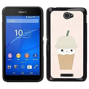 EJOY---Cubierta de la caja de protección para la piel dura ** Sony Xperia E4 ** --helado corazón del café marrón lindo