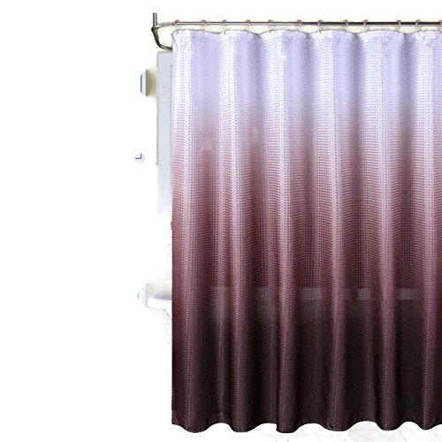 Ombre Waffle Weave Shower Curtain with 12 pcs Coordinated Metal Roller Rings (Tapestry Uk Christmas Led)