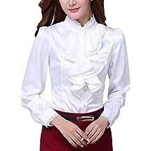 Double Plus Open DPO Women's Chiffon Button Down Ruffle Lace Founcing Front Shirt Long Sleeve Blouse