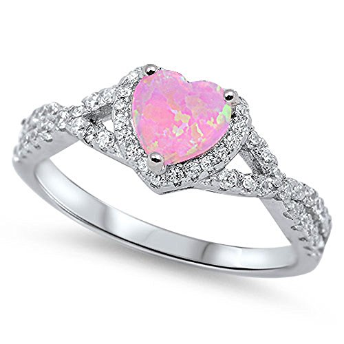 Sterling Silver Heart Halo Simulated Gemstone Promise Ring All Colors Available (Lab Created Pink Opal, - Heart Ring Created Diamond Promise