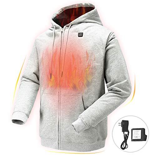 NIFVAN Heated Hoodie with 7.4V Battery Pack for Men Women Full-Zip Fleece Hooded Sweatshirt (Large) Grey
