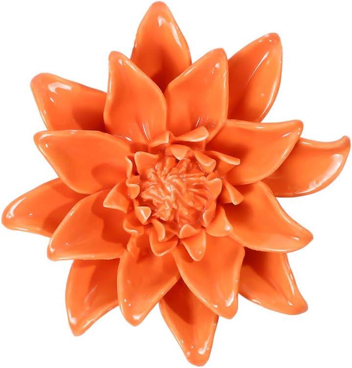 """Orange Ceramic Flowers Wall Decor Handmade 3D Flower Wall Art Hanging Decor for Livingroom Bedroom 3.94"""""""