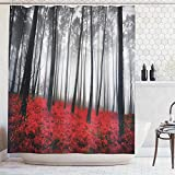 Red and Gray Shower Curtain Ambesonne Fabric Shower Curtain Farmhouse Country Home Woodland Decor, Mystic Forest Trees and Leaves Red Grass Modern Art Flower Rainy Foggy Gray Scene Print, 69x70 Inches Long, Red Gray