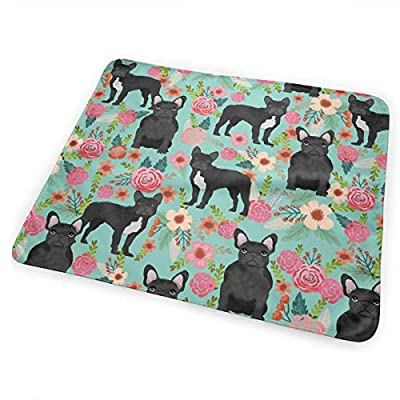 French Bulldog Floral Fabric Black Frenchie Fabric Bed Pad Washable Waterproof Urine Pads for Baby Toddler Children and Adults 31.5 X 25.5 inch