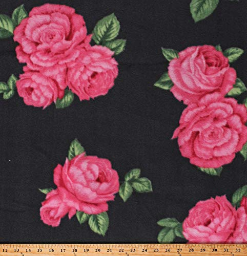 Floral Rose Fabric (Fleece Bohemian Roses Pink Flowers Floral on Gray Fleece Fabric Print by The Yard (DT-6141-MA-1GRAY))