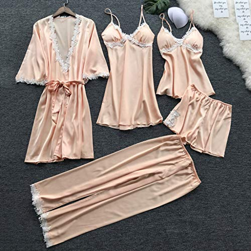 Bohelly Fashion Underwear Babydoll Sleepwear Dress 5PC Suit Charming Nightdress Pajamas