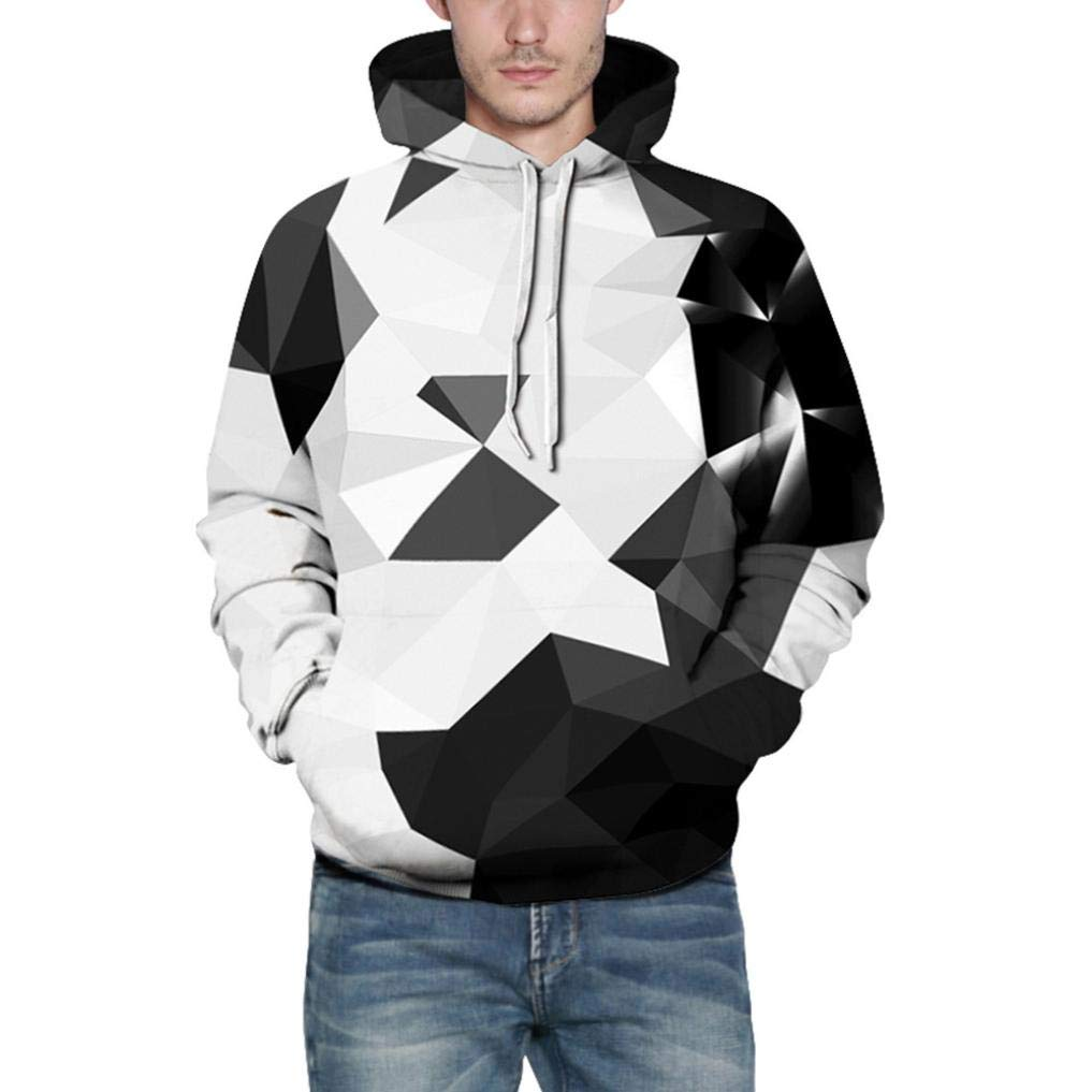 Men's Down and Down Alternative Jackets, Men Sweatshirts for Sports, Loves' Casual Autumn Winter 3D Printing Long Sleeve Hoodies Sweatshirt Blouse (White, L/XL)