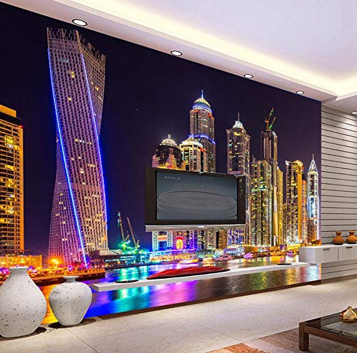 Chinese Cityscape Night City Building Wallpaper for 3 d Wall Living Room Mural Rolls Wall Papers Household Home Decal,150105cm