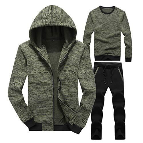 3PC Men Hoodie Sweatshirt Coat + Long Sleeved Tops + Pants Sports Sets Tracksuit (4XL, Green)