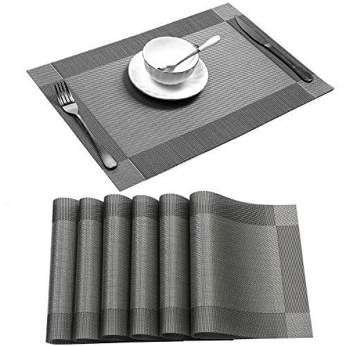 Dishwasher Safe Placemats - U'Artlines Placemat, Crossweave Woven Vinyl Non-Slip Insulation Placemat Washable Table Mats Set of 6 (6pcs placemats, Grey)