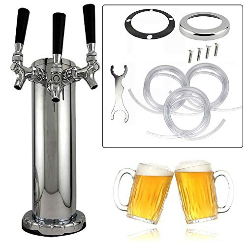 YUNRUS 2 Taps Draft Beer Tower Triple Faucet Stainless Steel for your home and bar