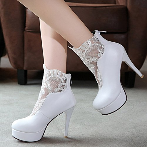 Red Party White Out Women's Boots Lace Spring Cut YE High Sole Elegant Platform Ankle Zip Heels with Autumn Shoes BYxaRUZ