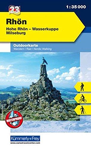 Outdoorkarte 23 Rhön 1 : 35.000: Wandern, Rad, Nordic Walking. Hohe Rhön, Wasserkuppe (Kümmerly+Frey Outdoorkarten Deutschland)