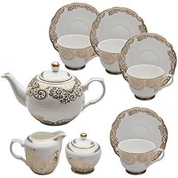 Grace Teaware 11-Piece Porcelain Tea Set (Gold Lace)