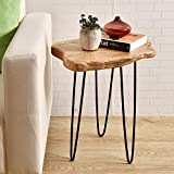 "wood stump table WELLAND Natural Edge End Table, Wood Side Table, Nightstand, Plant Stand 20.5"" Tall"