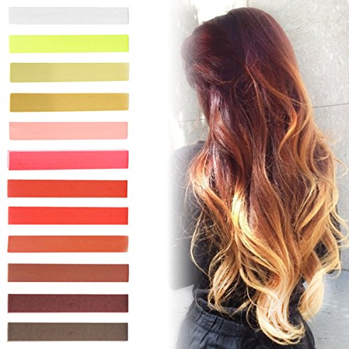 Caramel Blonde Ombre Hair Dye Set of 12   Honey Blonde Red Ombre Hair Set   MAROON Color Temporary Vibrant Hair Dye   with Shades of White, Yellow, Red, Orange & Brown   Pastel Set of 12 Temporary Vibrant Hair Dye   Color your Hair Caramel Brown Ombre in seconds with temporary HairChalk