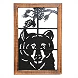 Bear in Window Metal/Wood Wall Art